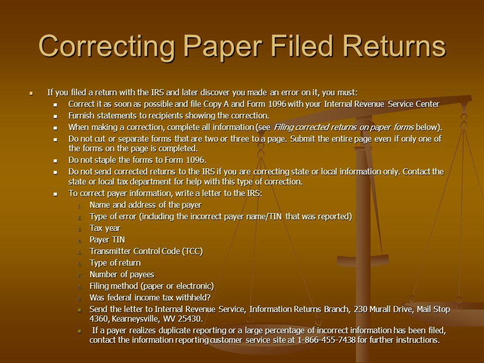 Correcting Paper Filed Returns