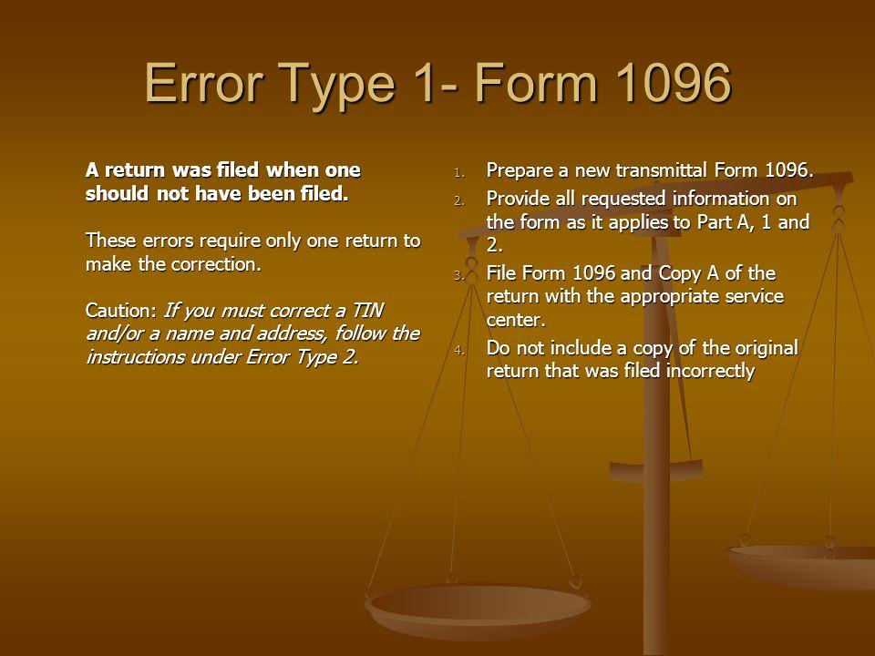 Error Type 1- Form 1096