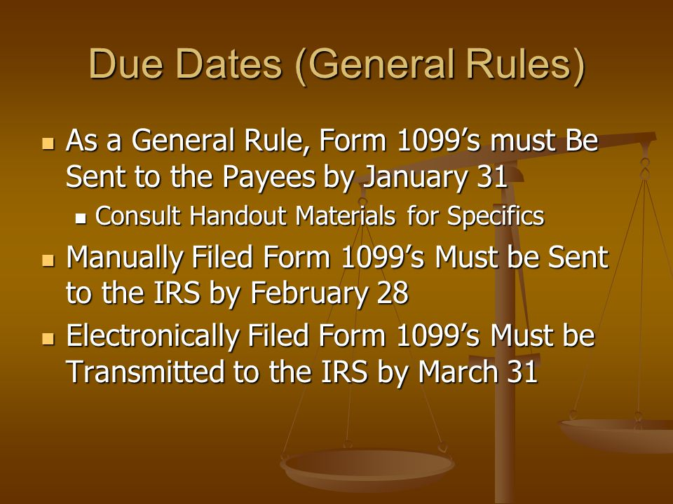 Due Dates (General Rules)