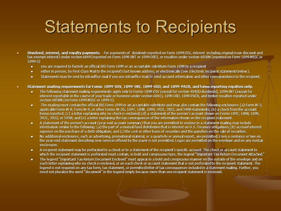 Statements to Recipients