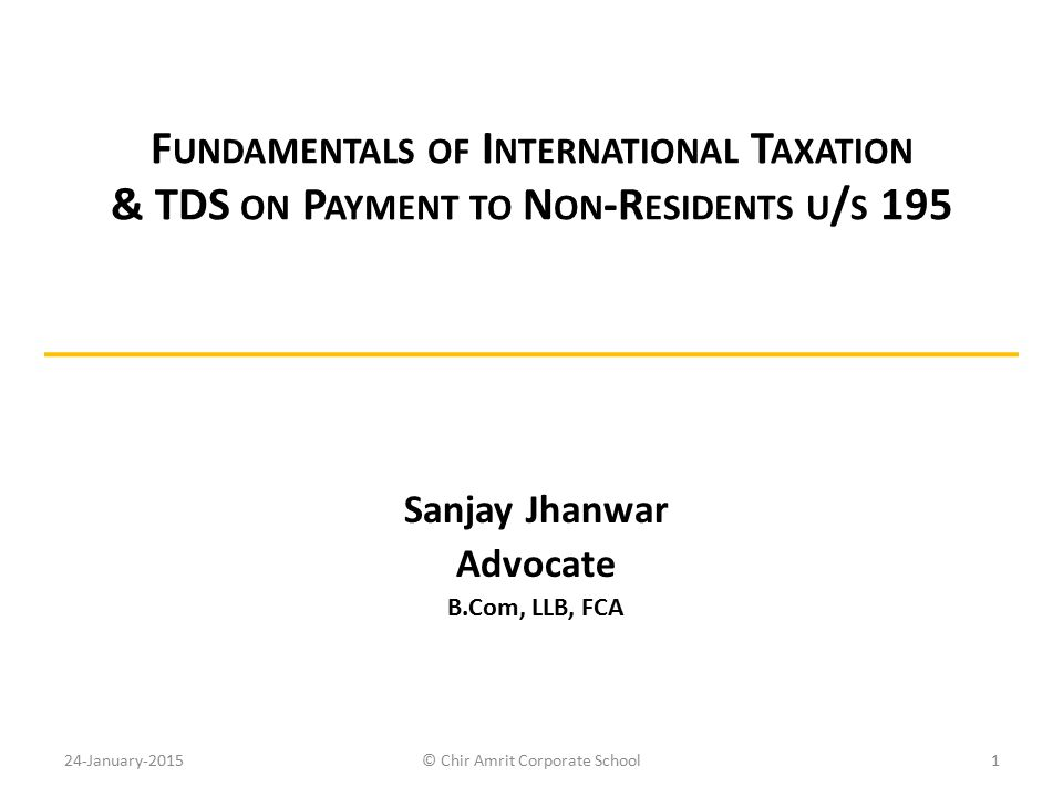 Sanjay Jhanwar Advocate B.Com, LLB, FCA