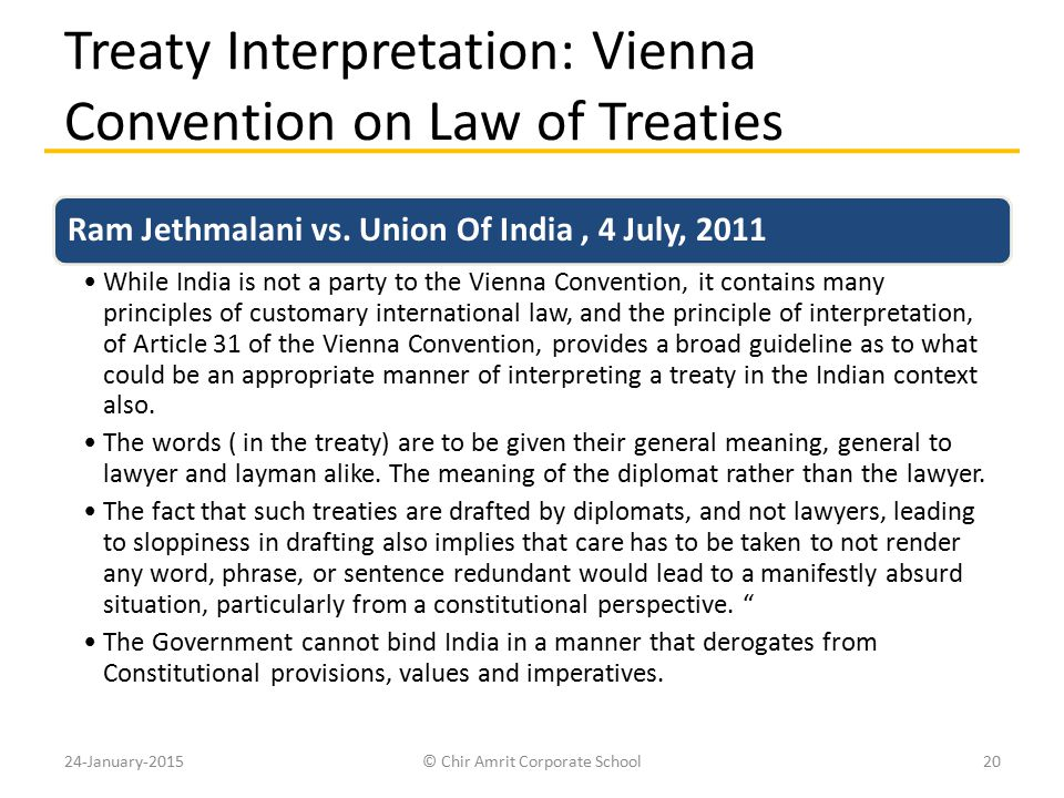 Treaty Interpretation: Vienna Convention on Law of Treaties