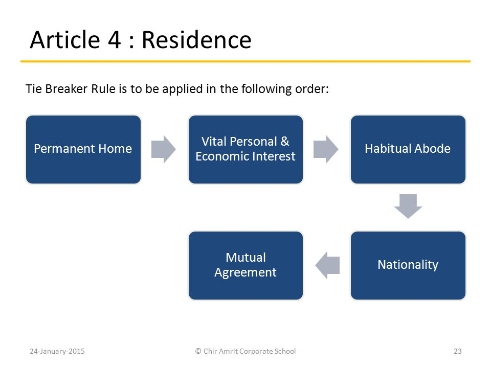 Article 4 : Residence Tie Breaker Rule is to be applied in the following order: Permanent Home. Vital Personal & Economic Interest.