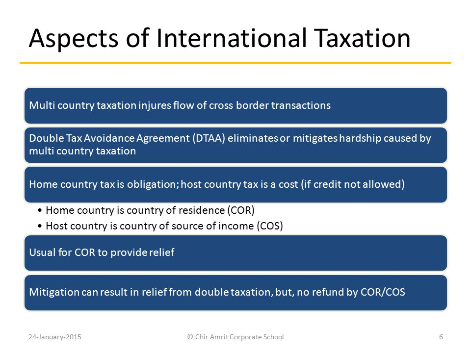 Aspects of International Taxation