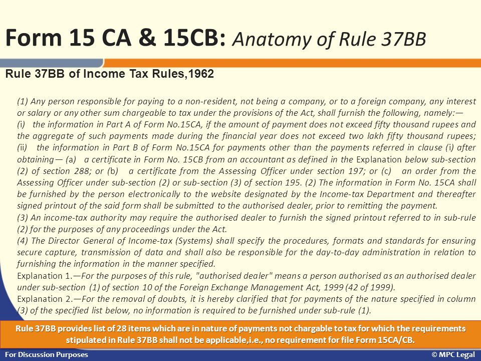 Form 15 CA & 15CB: Anatomy of Rule 37BB
