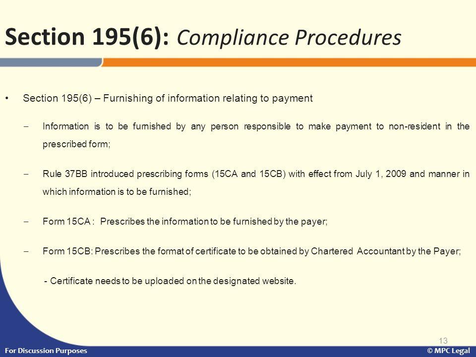 Section 195(6): Compliance Procedures