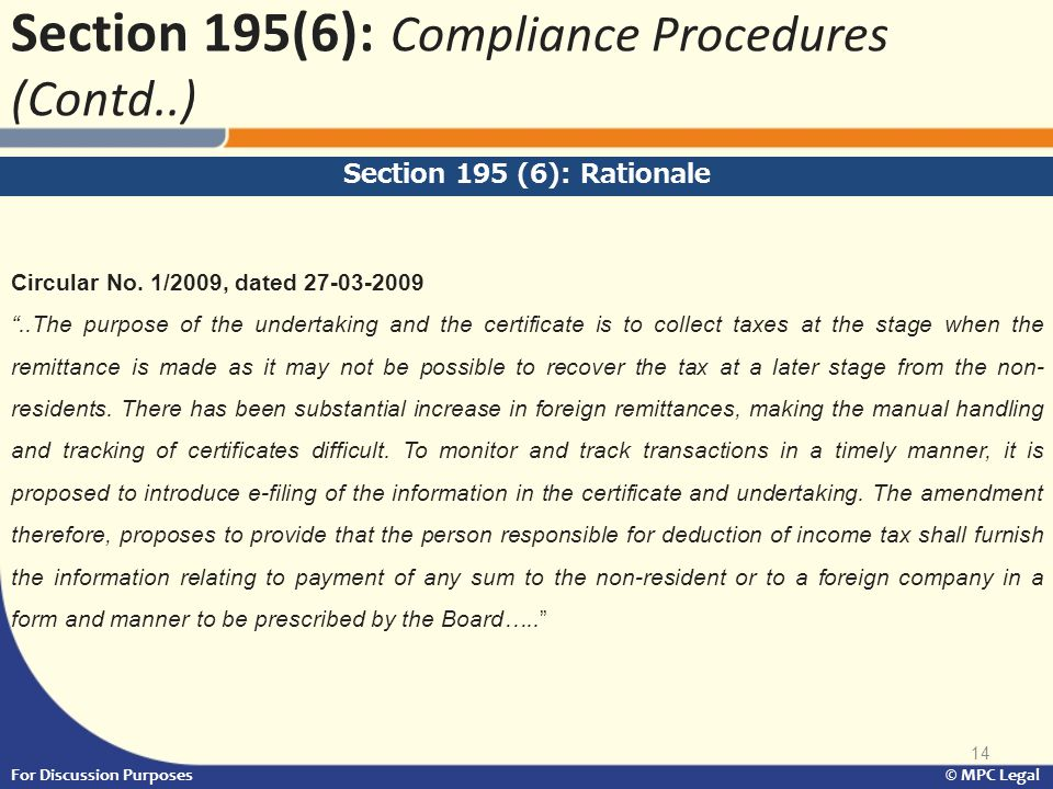 Section 195(6): Compliance Procedures