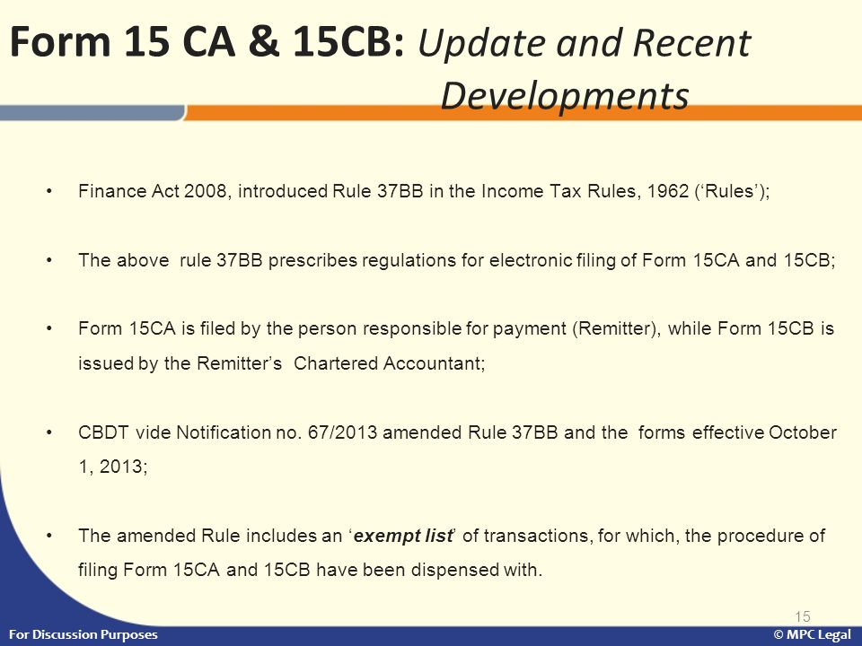 Form 15 CA & 15CB: Update and Recent Developments