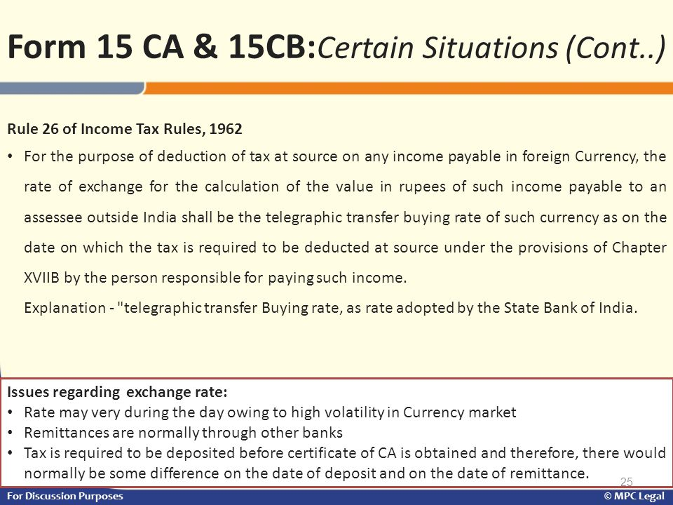 Form 15 CA & 15CB:Certain Situations (Cont..)