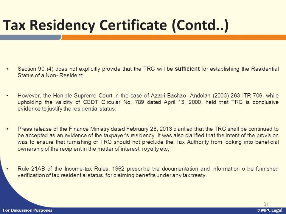 Tax Residency Certificate (Contd..)