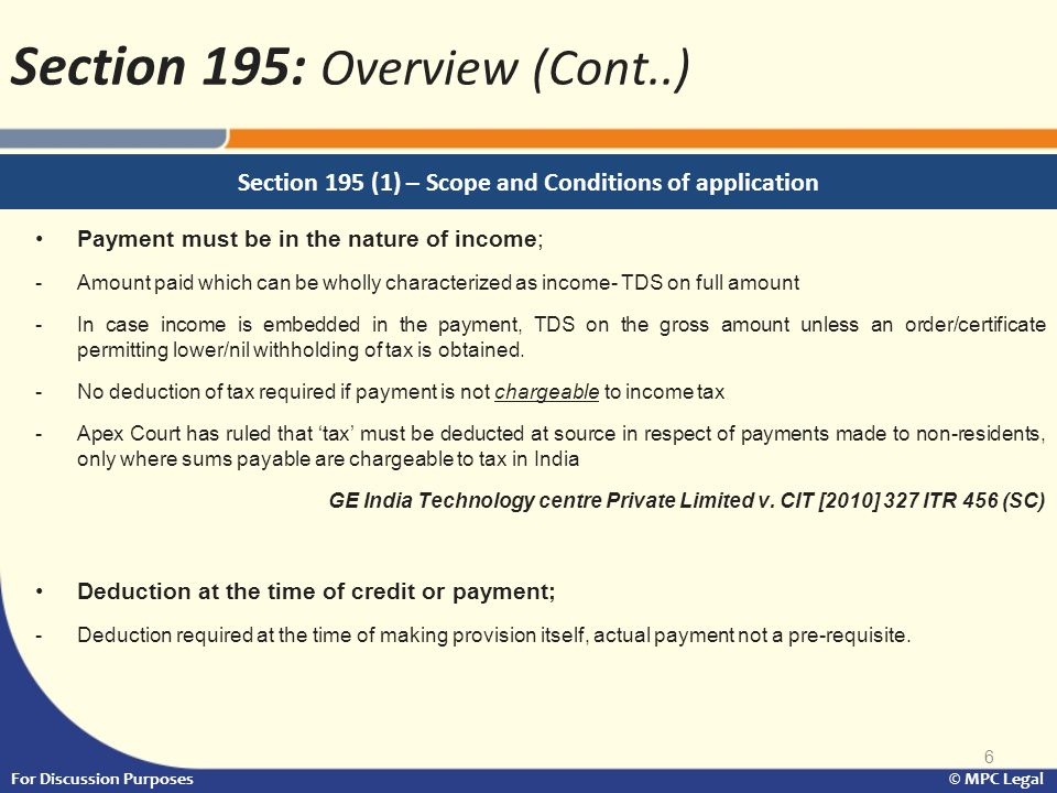 Section 195 (1) – Scope and Conditions of application