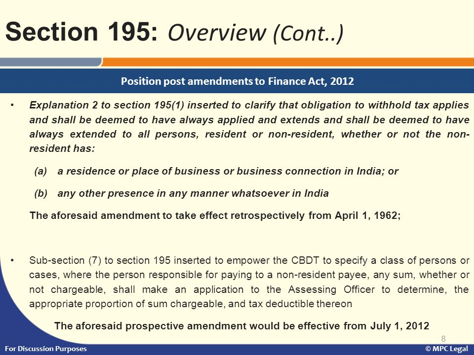 Position post amendments to Finance Act, 2012