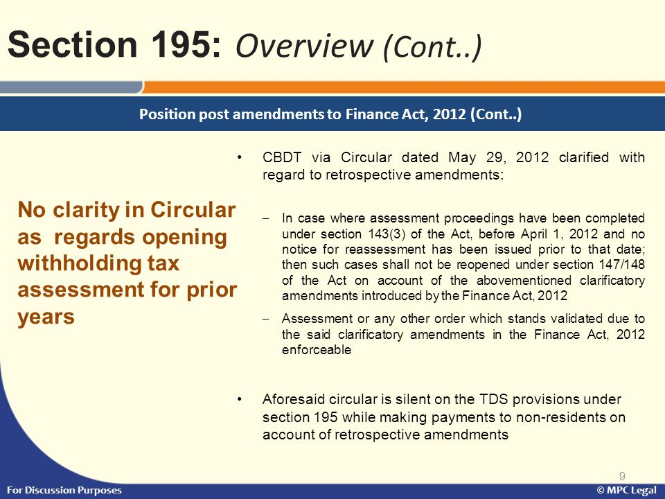 Position post amendments to Finance Act, 2012 (Cont..)