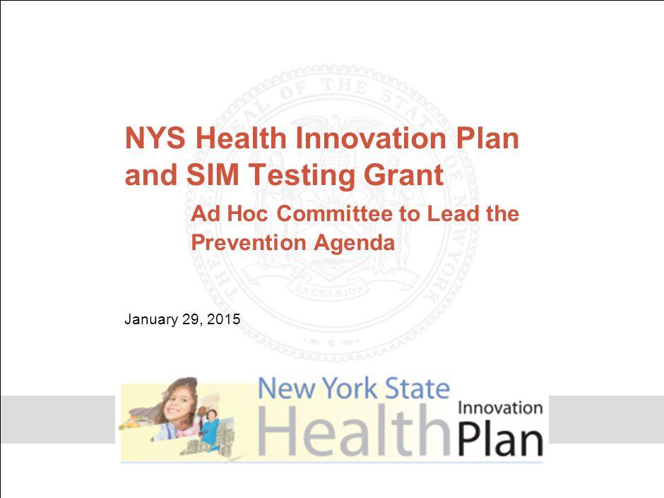 NYS Health Innovation Plan and SIM Testing Grant
