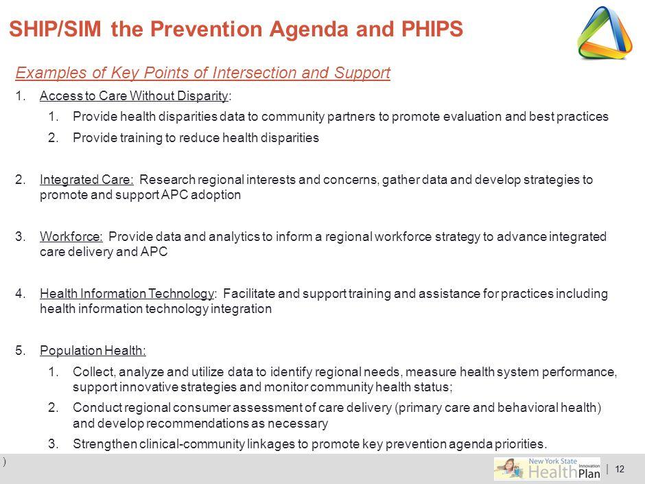 SHIP/SIM the Prevention Agenda and PHIPS