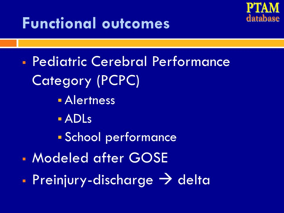 PTAM Functional outcomes