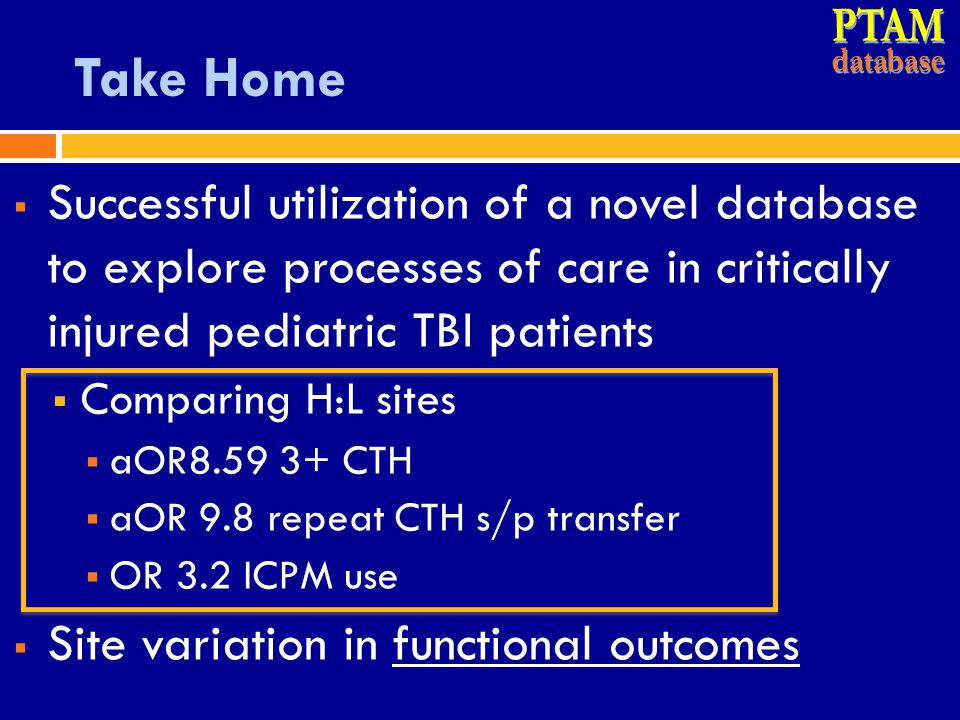 PTAM database. Take Home. Successful utilization of a novel database to explore processes of care in critically injured pediatric TBI patients.