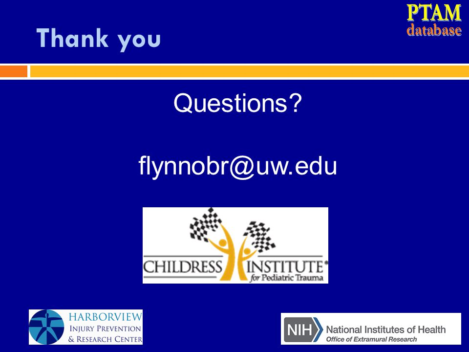 PTAM database Thank you Questions flynnobr@uw.edu