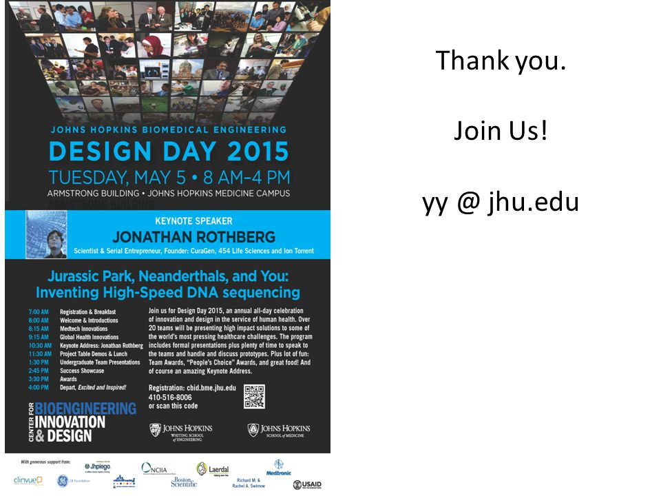 Thank you. Join Us! yy @ jhu.edu