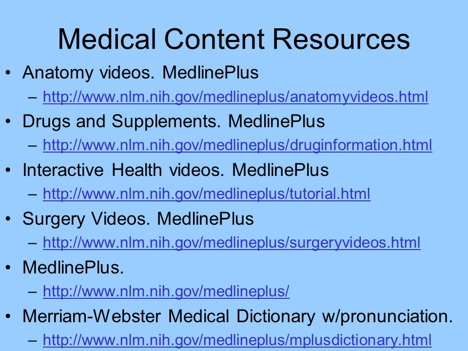 Medical Content Resources