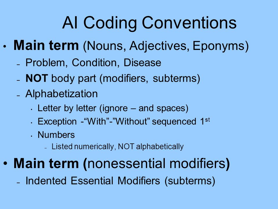 AI Coding Conventions Main term (Nouns, Adjectives, Eponyms)