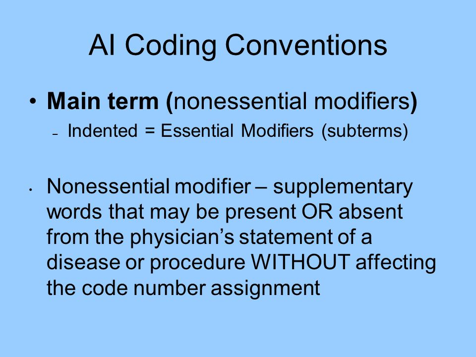 AI Coding Conventions Main term (nonessential modifiers)