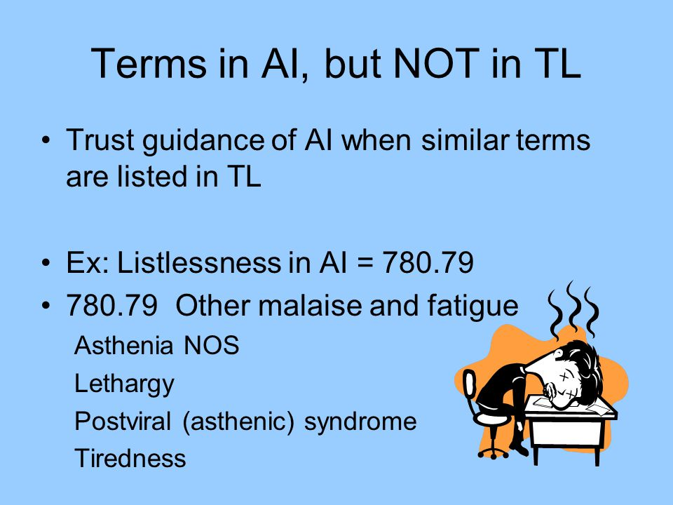 Terms in AI, but NOT in TL Trust guidance of AI when similar terms are listed in TL. Ex: Listlessness in AI = 780.79.