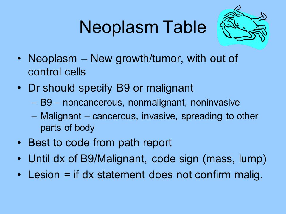 Neoplasm Table Neoplasm – New growth/tumor, with out of control cells