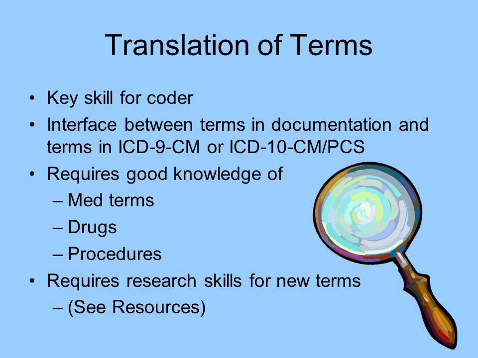 Translation of Terms Key skill for coder