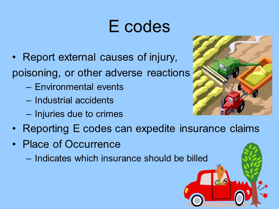 E codes Report external causes of injury,