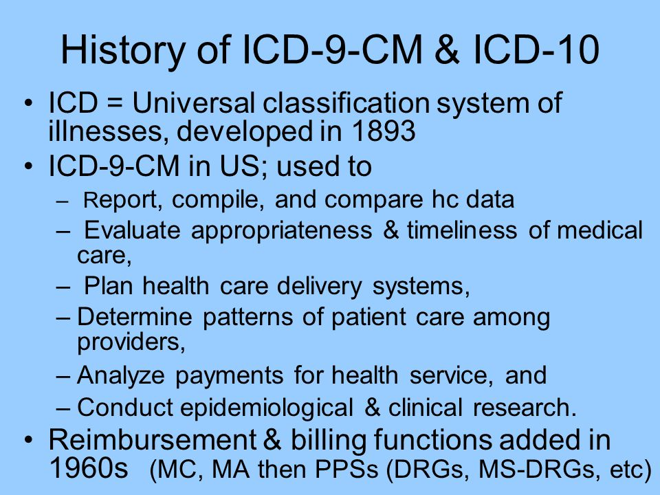 History of ICD-9-CM & ICD-10