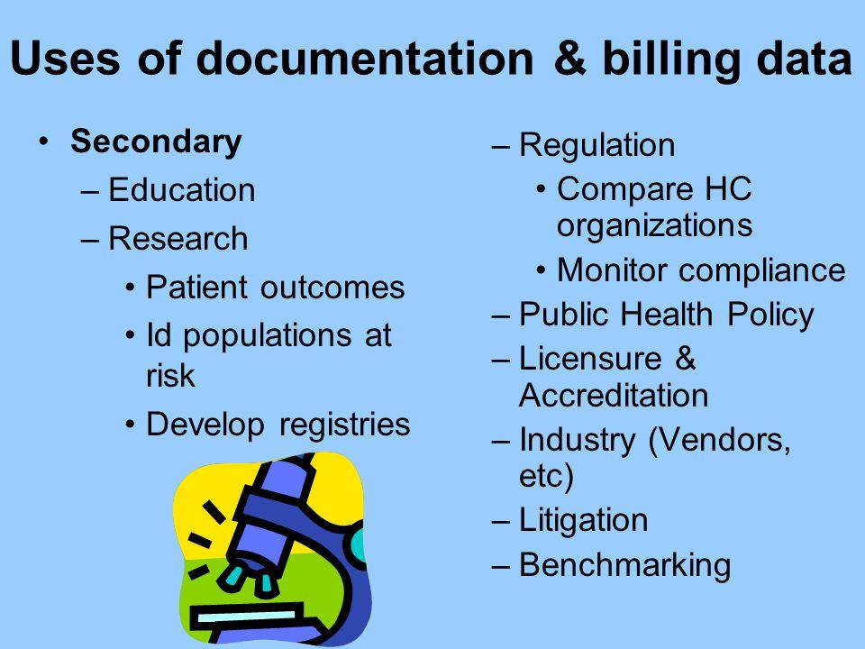 Uses of documentation & billing data