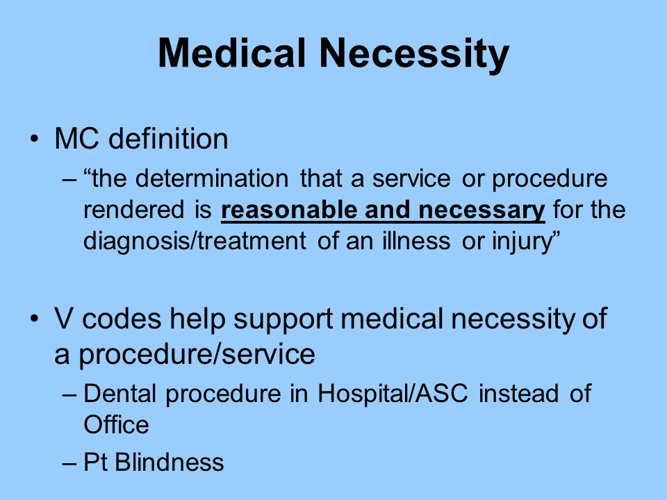 Medical Necessity MC definition