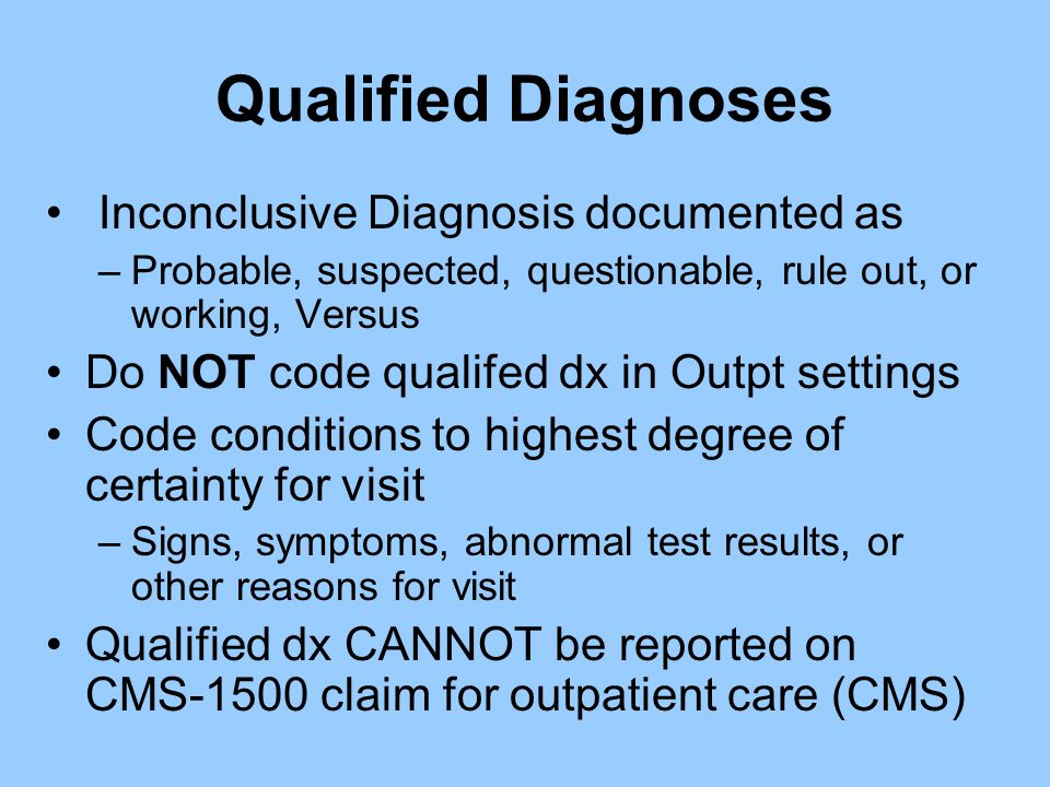Qualified Diagnoses Inconclusive Diagnosis documented as