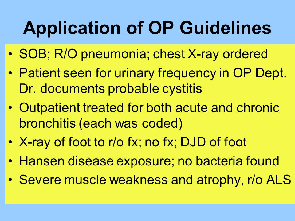 Application of OP Guidelines