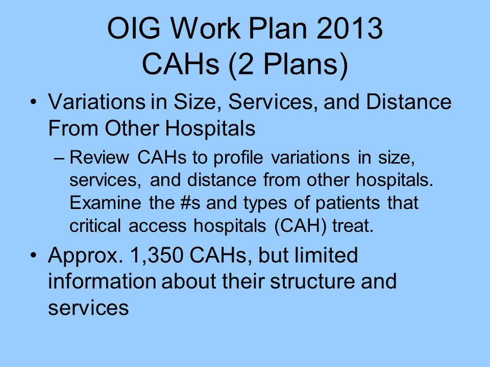 OIG Work Plan 2013 CAHs (2 Plans)