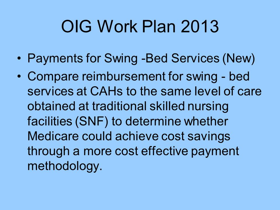 OIG Work Plan 2013 Payments for Swing -Bed Services (New)