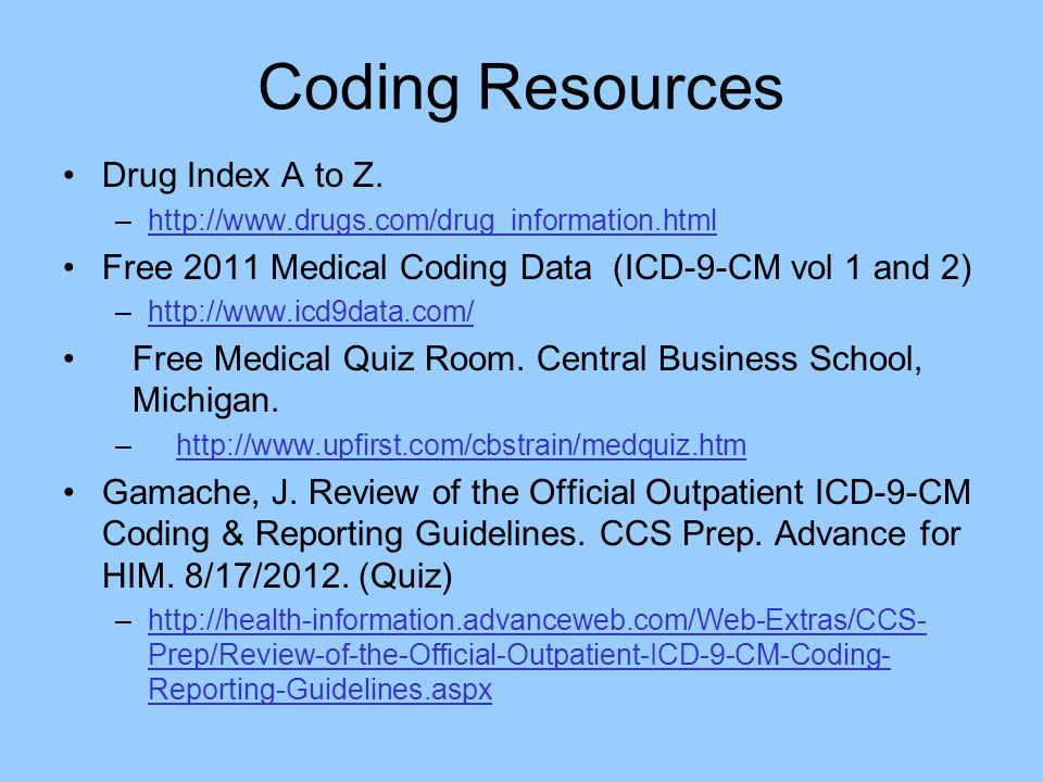 Coding Resources Drug Index A to Z.