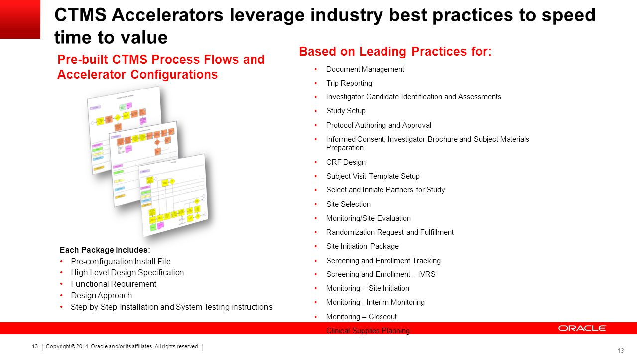 CTMS Accelerators leverage industry best practices to speed time to value