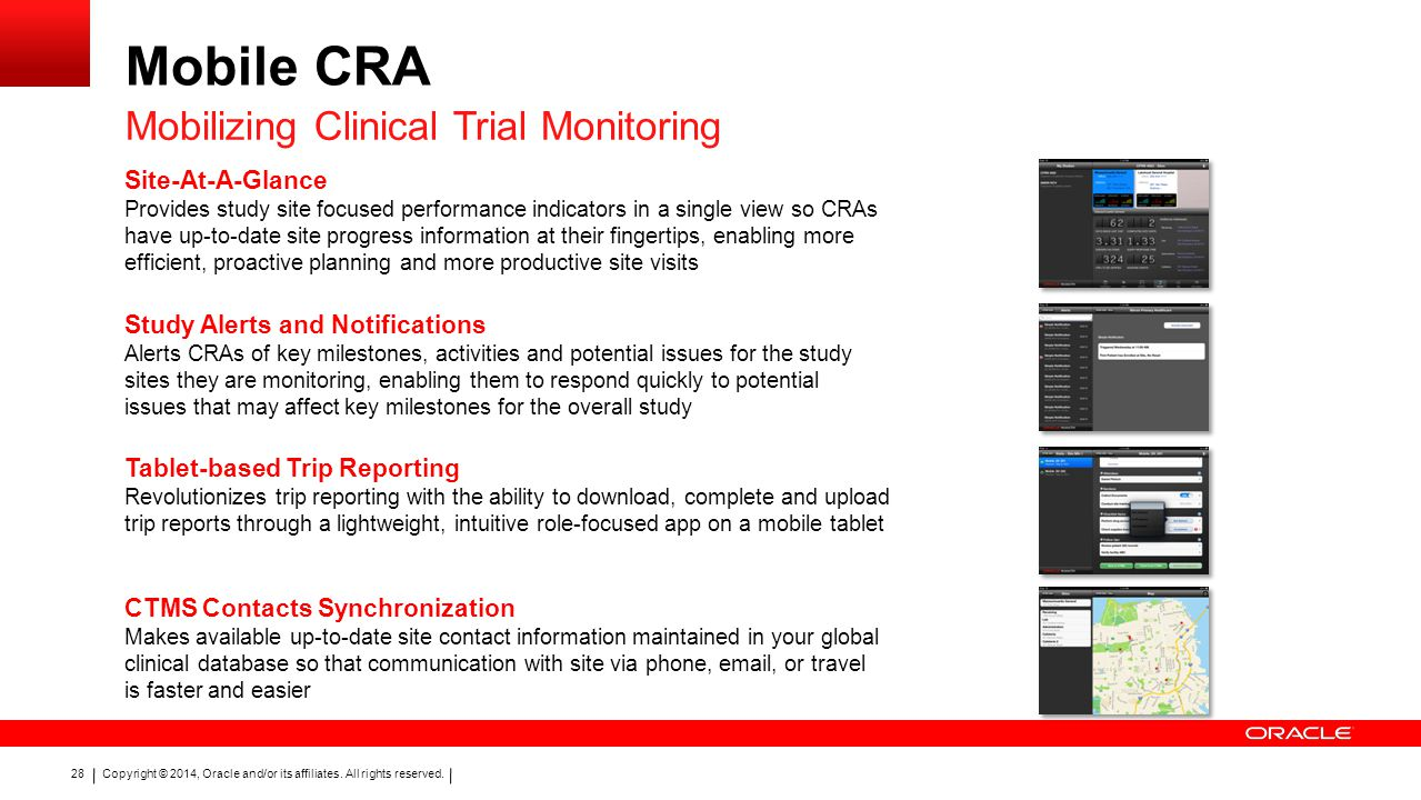 Mobile CRA Mobilizing Clinical Trial Monitoring Site-At-A-Glance