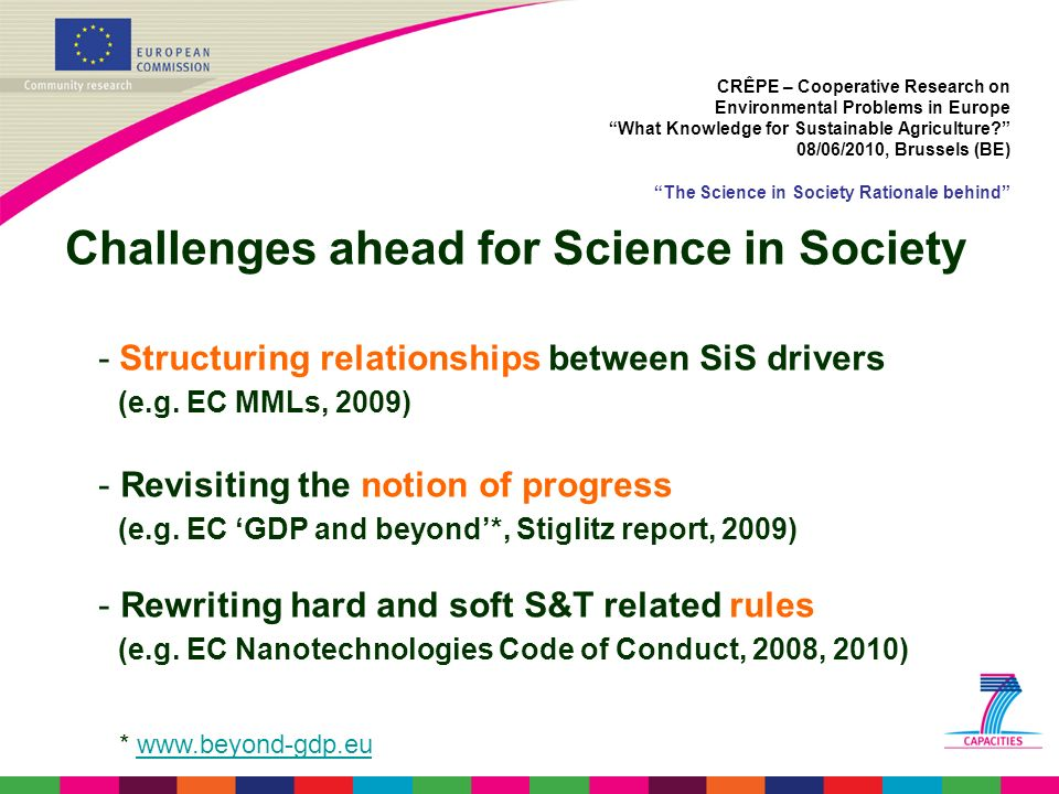 Challenges ahead for Science in Society