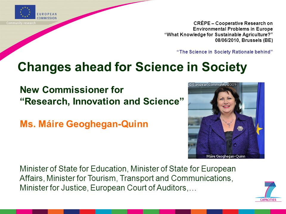 Changes ahead for Science in Society
