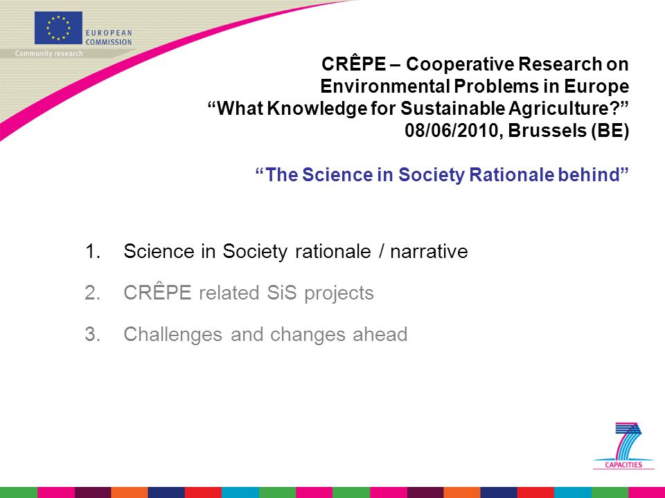 Science in Society rationale / narrative CRÊPE related SiS projects