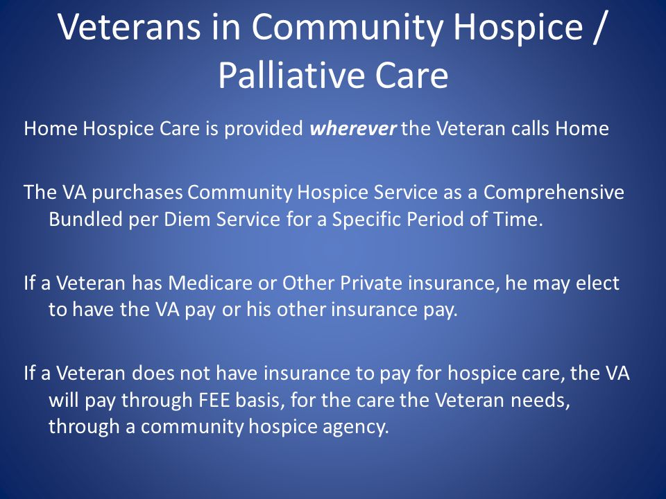 Veterans in Community Hospice / Palliative Care
