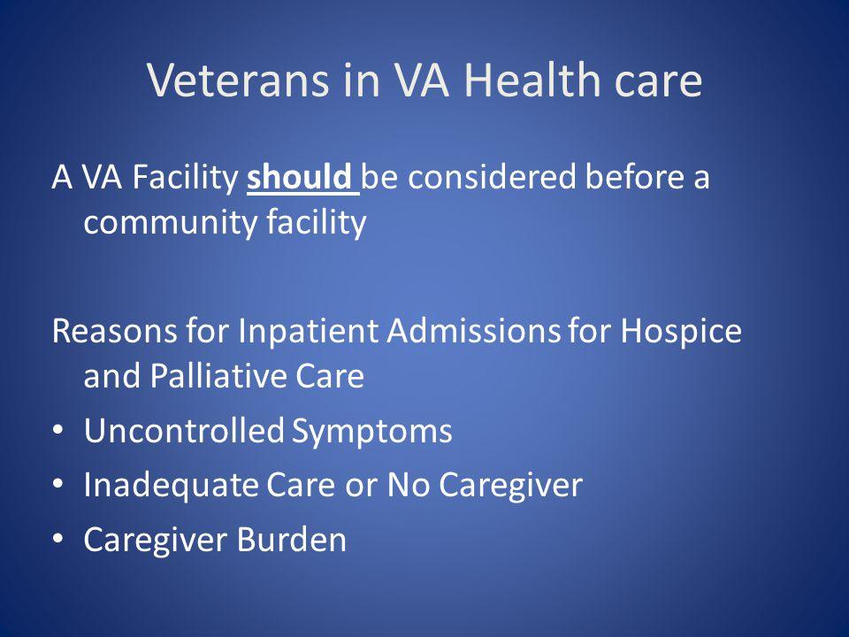 Veterans in VA Health care