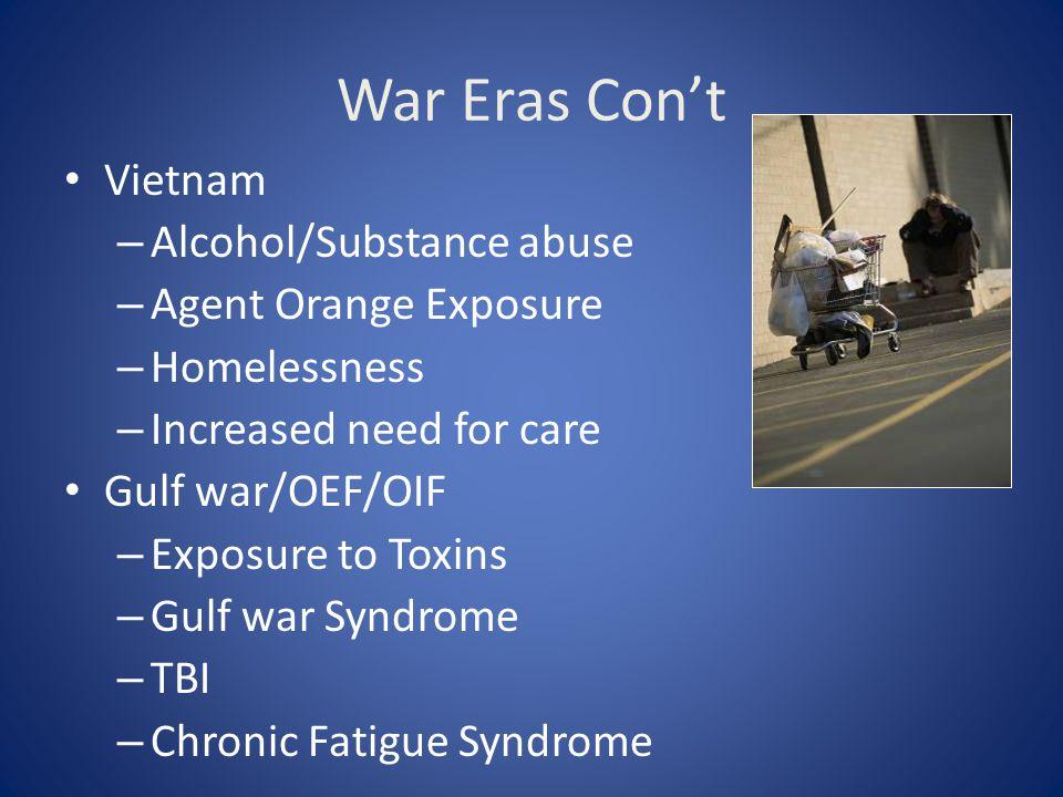 War Eras Con't Vietnam Alcohol/Substance abuse Agent Orange Exposure