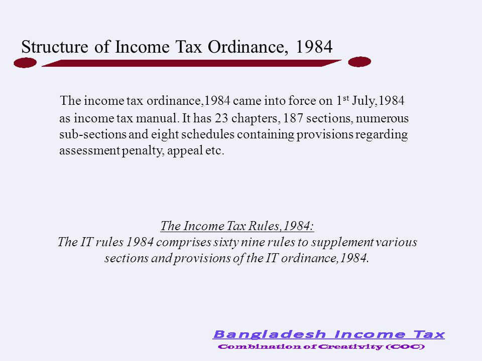 Structure of Income Tax Ordinance, 1984