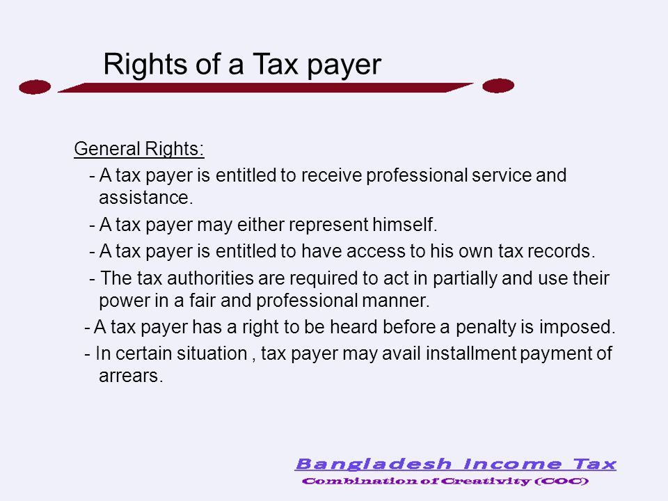 Rights of a Tax payer