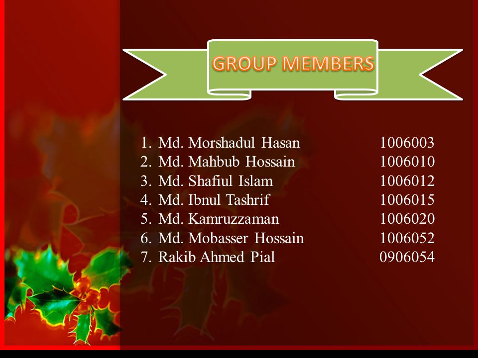 GROUP MEMBERS Md. Morshadul Hasan 1006003 Md. Mahbub Hossain 1006010