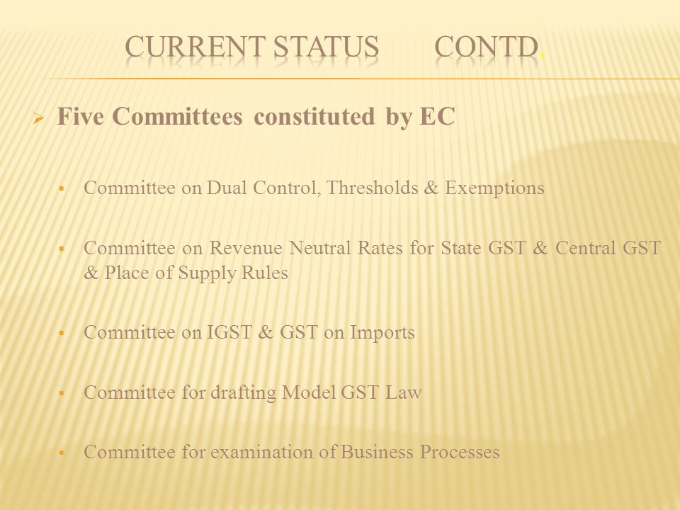 CURRENT STATUS contd. Five Committees constituted by EC